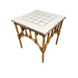 Pole Rattan Center Coffee Table With Solid Resin Top For Sale