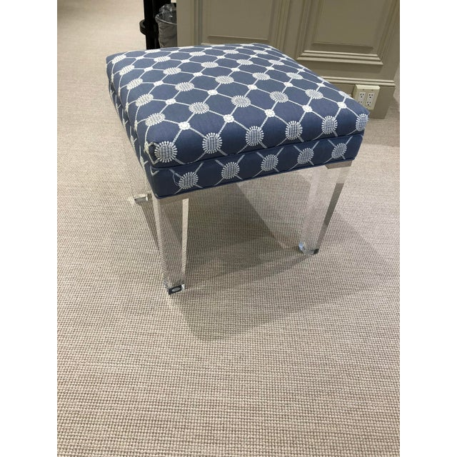 Lucite Early 21st Century Vintage Transitional Ottoman For Sale - Image 7 of 7