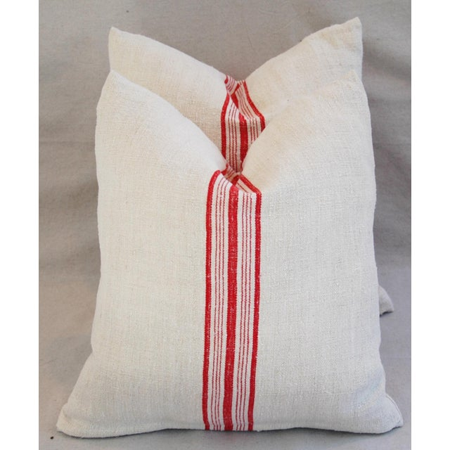 Red Stripe French Grain Sack Pillows - Pair - Image 2 of 11