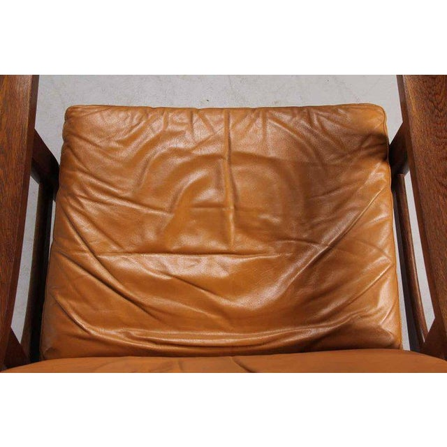 1970s Leather Upholstered Armchair by Hans Wegner For Sale - Image 5 of 6