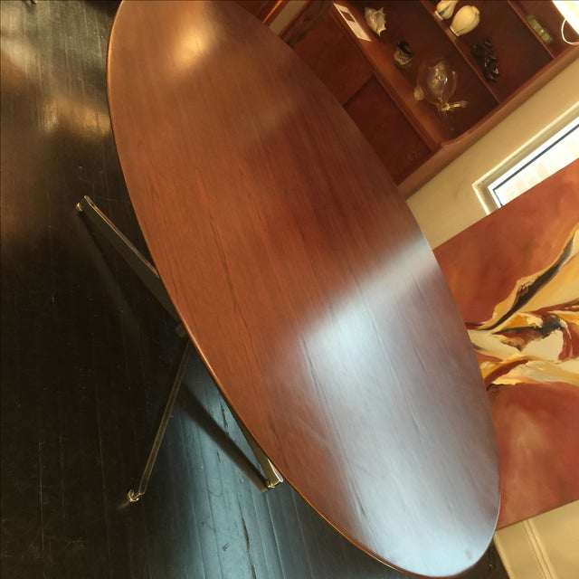 Florence Knoll Oval Solid Walnut Table - Image 5 of 8