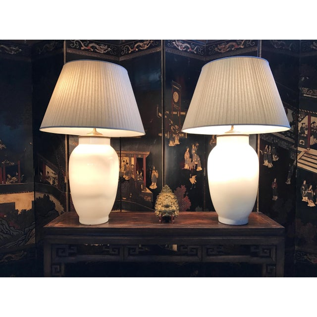 Blanc de Chine Baluster Form Table Lamps - A Pair For Sale - Image 9 of 9