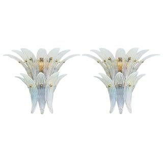 Fabio Ltd Opaline Palmette Sconces- A Pair For Sale
