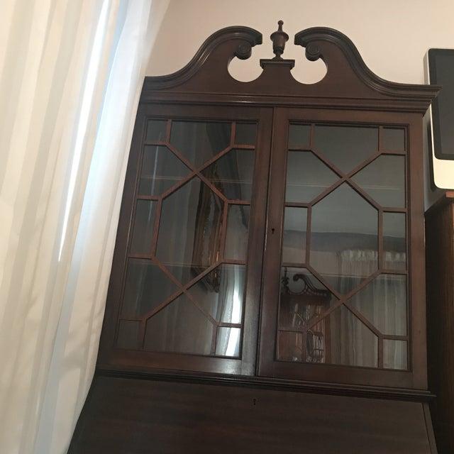 Queen Ann Mahogany Secretary Desk Armoire For Sale - Image 4 of 11
