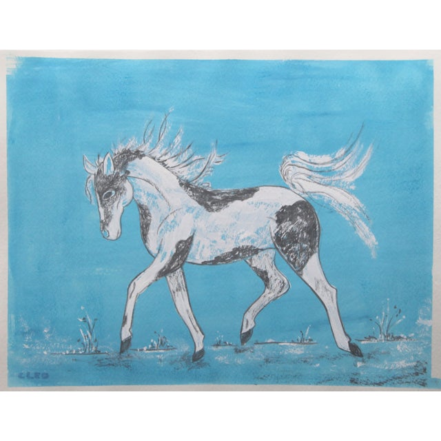 Shabby Chic Horse Chinoiserie Painting by Cleo Plowden For Sale - Image 3 of 5