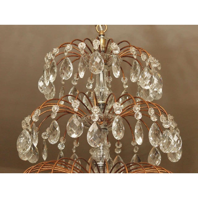 Italian 18 Lite Crystal Tiered Chandelier For Sale - Image 9 of 10