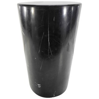 Short Circular Black Marble Display Pedestal For Sale