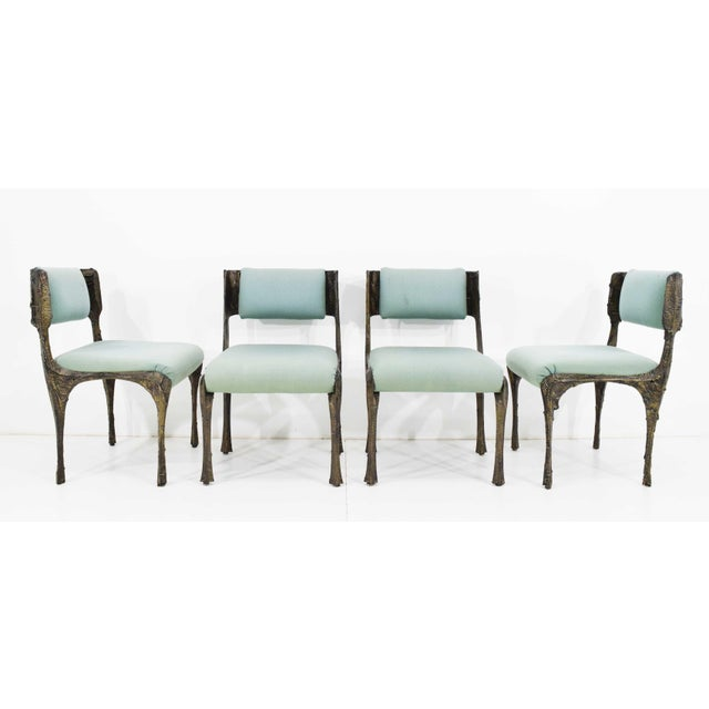 1970s Set of Six Paul Evans Brutalist Sculpted Bronze and Resin Dining Chairs, 1972 - See Updated Listing W. New Upholstery For Sale - Image 5 of 11
