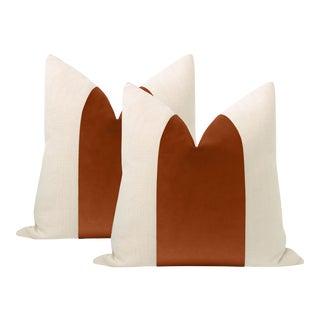 """22"""" Terracotta Velvet Panel + Linen Pillows - a Pair For Sale"""