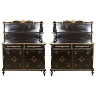 Stamped Jansen Ebonized Etageres - A Pair For Sale
