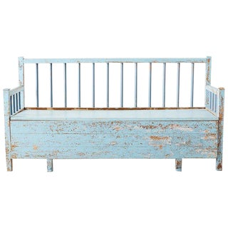 Rustic Swedish Farmhouse Pine Storage Bench or Settle For Sale
