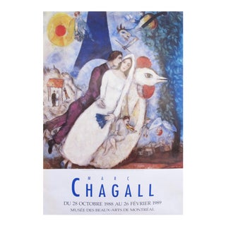 1988 Marc Chagall Poster, Bride and Groom of the Eiffel Tower