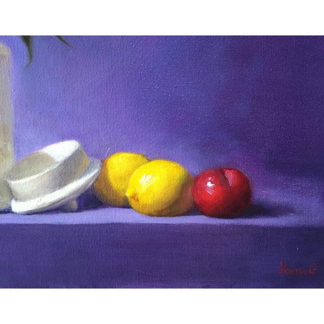 Yellow & Purple Still Life Oil Painting - Image 2 of 3