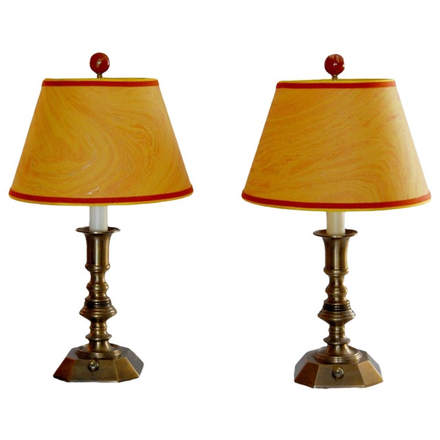 Vintage Brass Desk Lamps & Marble Shades - Pair - Image 1 of 6