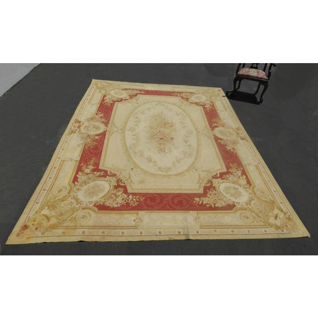 Vintage Tan Floral Aubusson Area Rug - 8′6″ × 11′7″ - Image 5 of 11