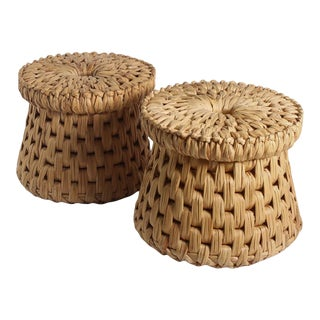 1970s Mexican Palm Leaf Tables or Stools - a Pair For Sale