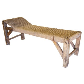 19th Century Vintage Primitive Woven Indian Jute Rope Charpoy Bed Chaise For Sale