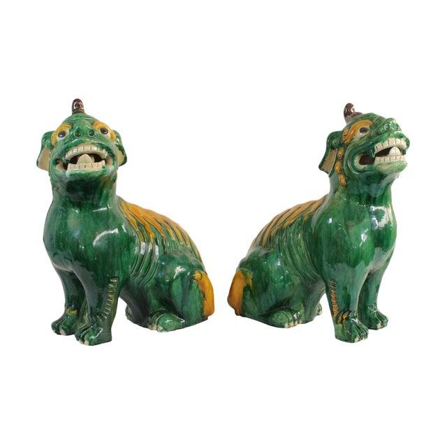 Pair of Famille Verte Foo Dogs - Image 1 of 10