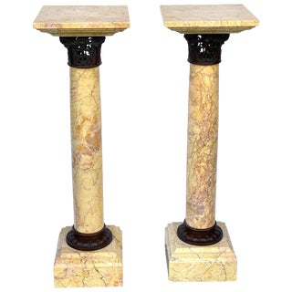 Pair of Neoclassical Siena Marble and Bronze Pedestals For Sale