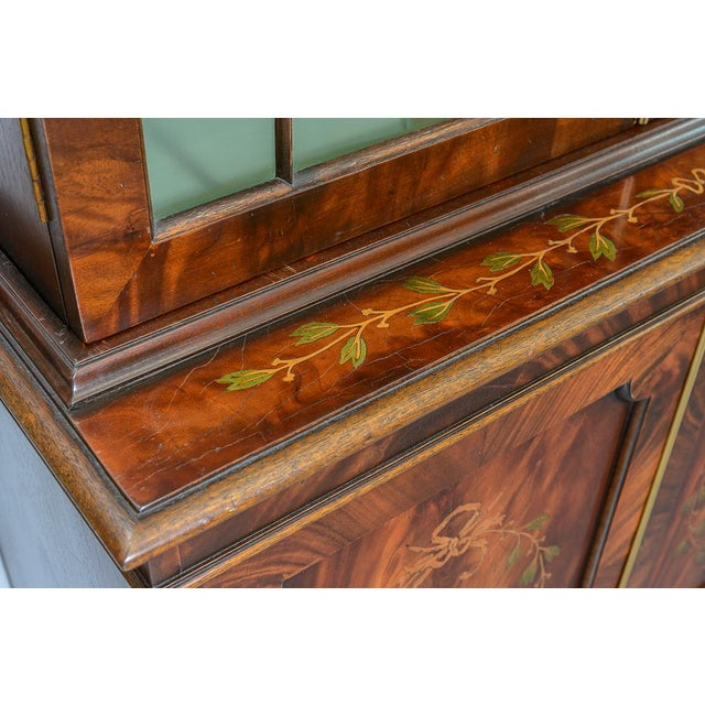 Blown Glass Regency Style Pair of Inlaid Wood Cabinets With Blown Glass Doors For Sale - Image 7 of 13