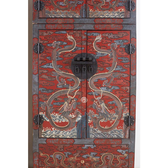 Chinese Polychrome Decorated Compound Dragon Cabinets - a Pair For Sale - Image 11 of 13