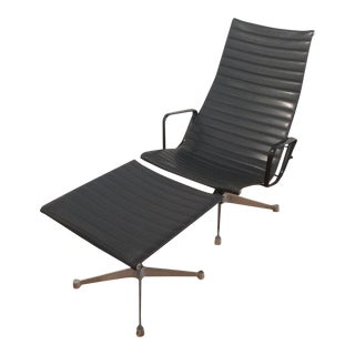 Eames Aluminum Group Lounger & Ottoman For Sale