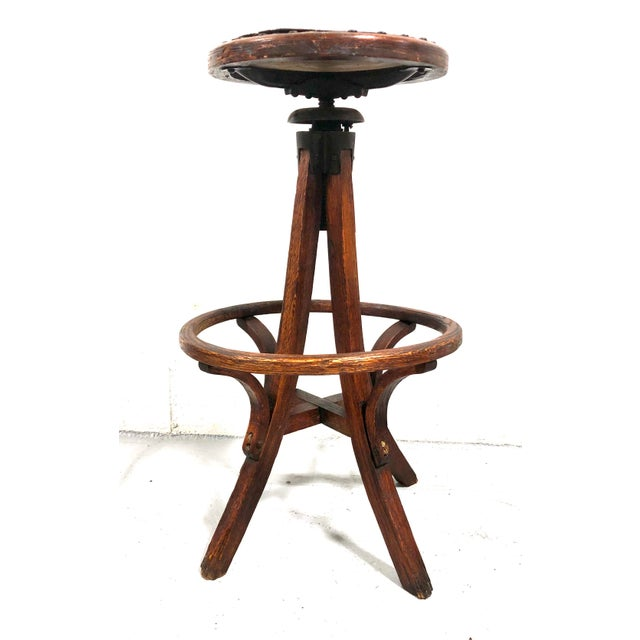 Antique Architectural Industrial Oak Drafting Stool For Sale - Image 13 of 13