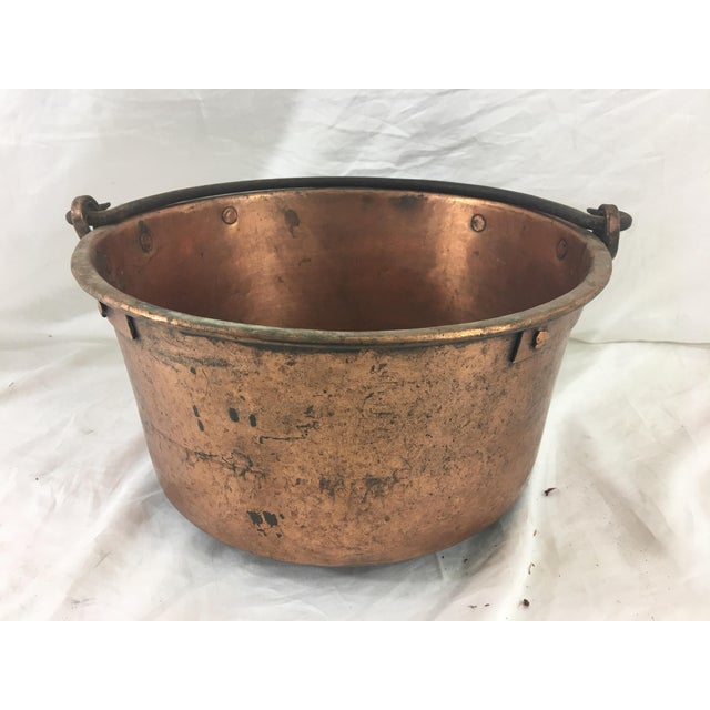 Copper 19th Century French Copper Medium Cauldron With Wrought Iron Handle For Sale - Image 7 of 7