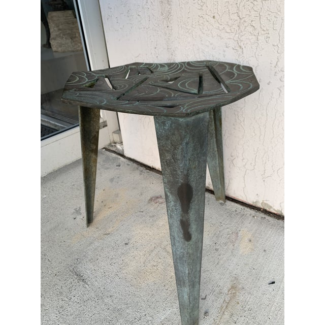 Artist Made Vintage Modernist Bronze Side Table For Sale - Image 4 of 7