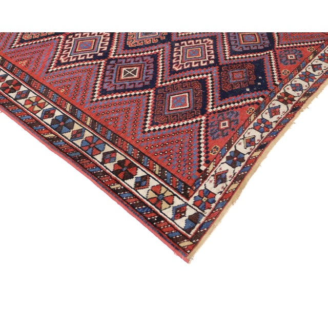 This antique Persian Afshar rug with modern tribal style features a lavishly colored composition displaying three stacked...