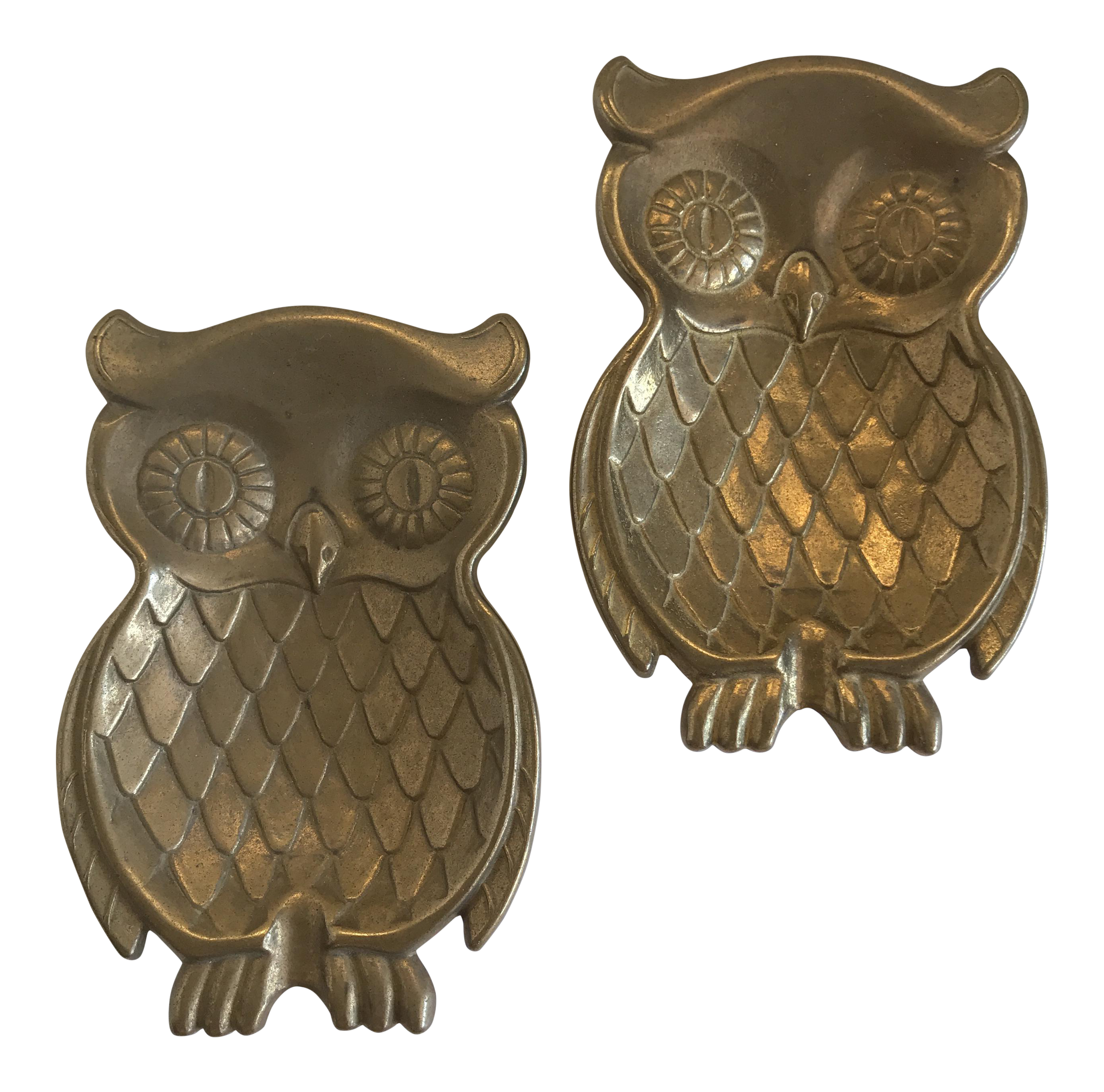 Vintage Brass Owl Trays - A Pair  sc 1 st  Chairish & Vintage Brass Owl Trays - A Pair | Chairish