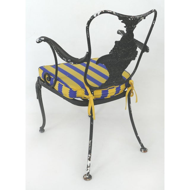 Mid 20th Century Wrought Iron Vintage Shabby Chic Garden Armchairs With Loose Seat Cushions, Pair For Sale - Image 5 of 10