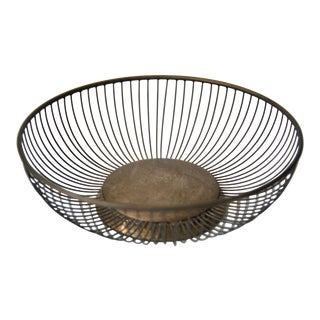 Mid 20th Century Italian Silver Plated Wire Basket For Sale