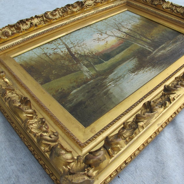 Autumn Scene Oil Painting on Canvas For Sale - Image 4 of 5