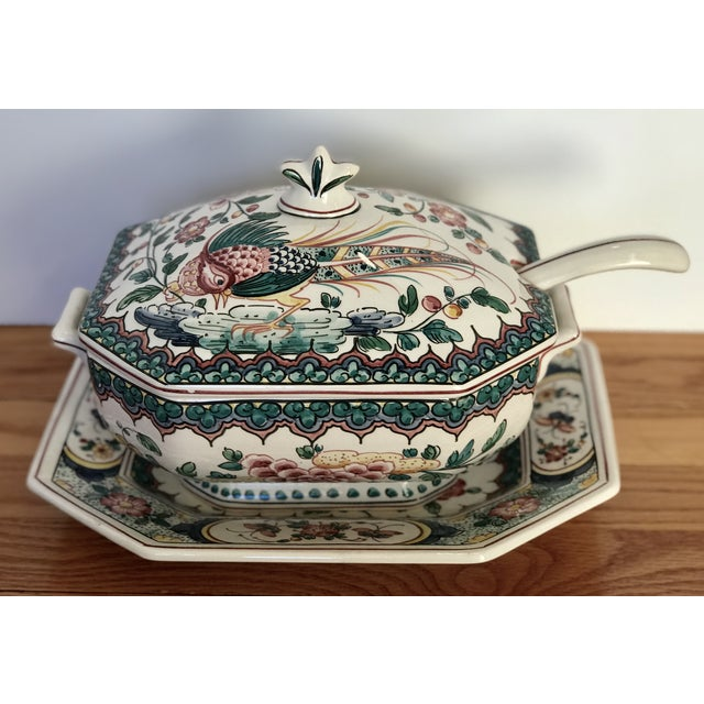 Hand Painted Ceramic Lidded Tureen With Under Plate & Ladle For Sale - Image 12 of 12