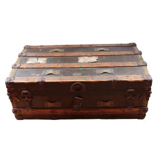 19th Century Americana Rustic Wooden Trunk