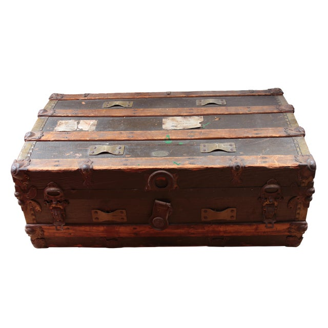 19th Century Americana Rustic Wooden Trunk For Sale