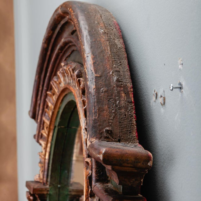 19th Century French Painted Mirror With Carved and Gilded Detailing For Sale - Image 4 of 8