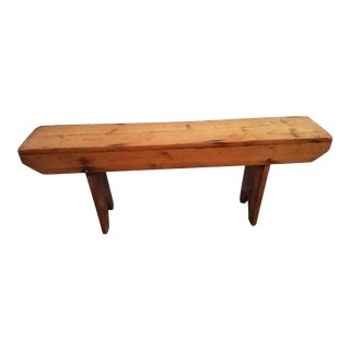 Antique Pitch Pine Wooden Bench For Sale