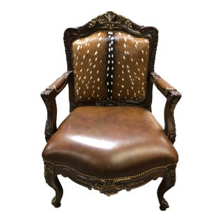 Vintage Mid-Century Massoud Furniture Dani Hair-Hide Leather Bergere Chair