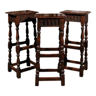 Set of Three 1920s English Ipswich Oak Bar Stools with Turned Legs and Stretcher