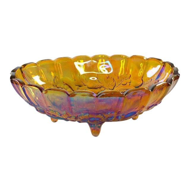 1940s Harvest Gold Carnival Glass Fruit Bowl For Sale