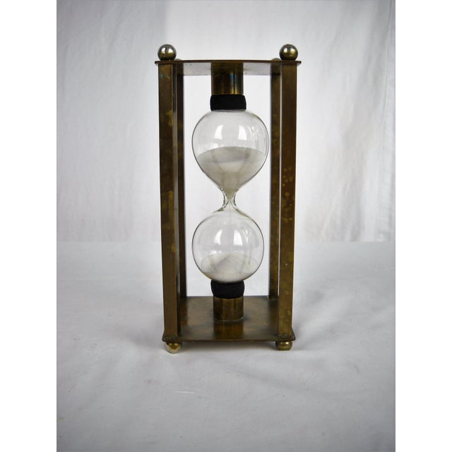 Metal Vintage Brass Petite Hour Glass For Sale - Image 7 of 8