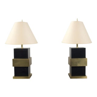 Pair of Italian Black Plexiglass Table Lamps For Sale