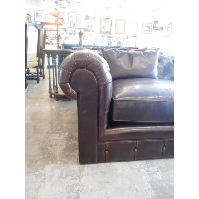 Kravet Chesterfield 3-Seat Sofa, Brown Tufted Leather For Sale In Los Angeles - Image 6 of 11