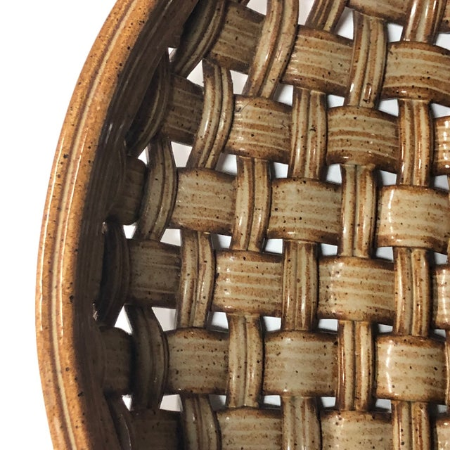 Brown Phil Sellers River Hill Pottery Basket Weave Bowl or Platter For Sale - Image 8 of 13