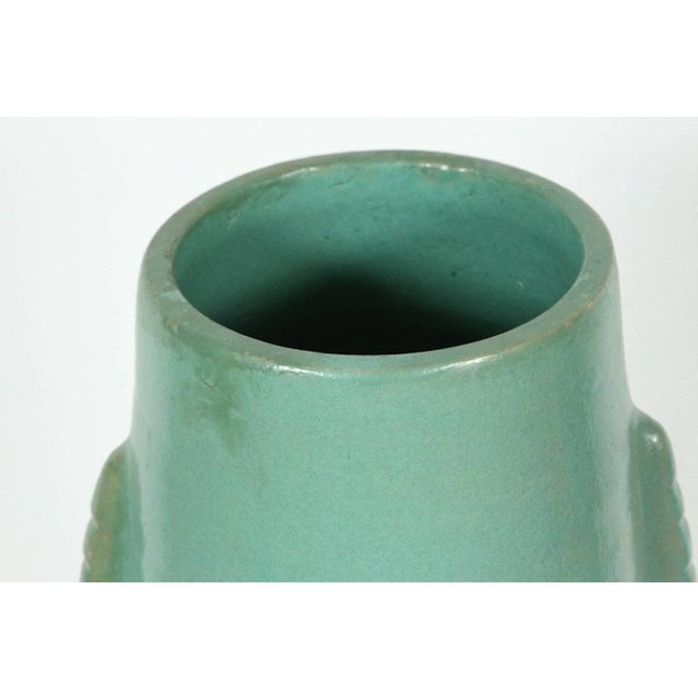 Mid 20th Century Moroccan Turquoise Handcrafted Ceramic Vase For Sale - Image 5 of 7
