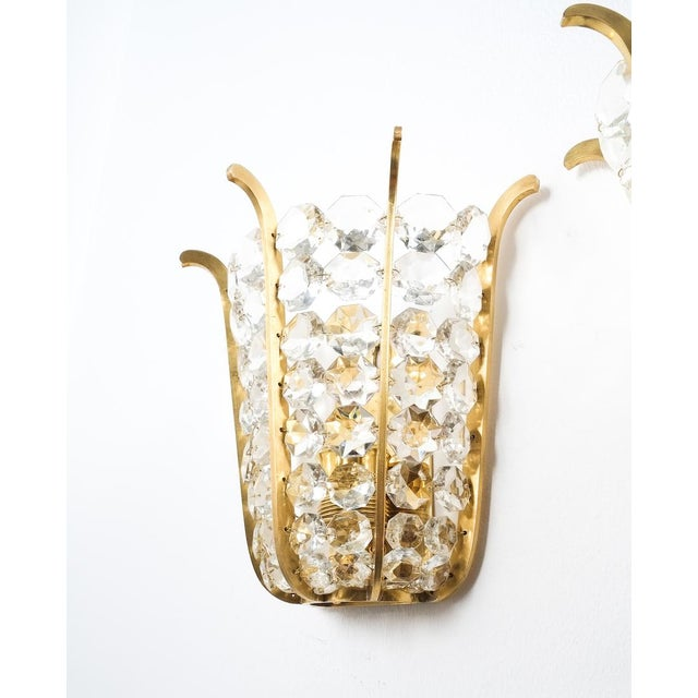 1950s Pair of Bakalowits Crown Sconces Brass and Glass, Austria 1955 For Sale - Image 5 of 8