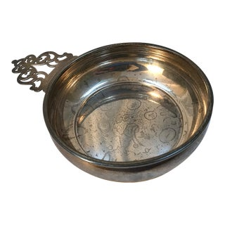 1950s Mid-Century Modern Sterling Silver Pierced Handle Porringer Porridge Bowl For Sale