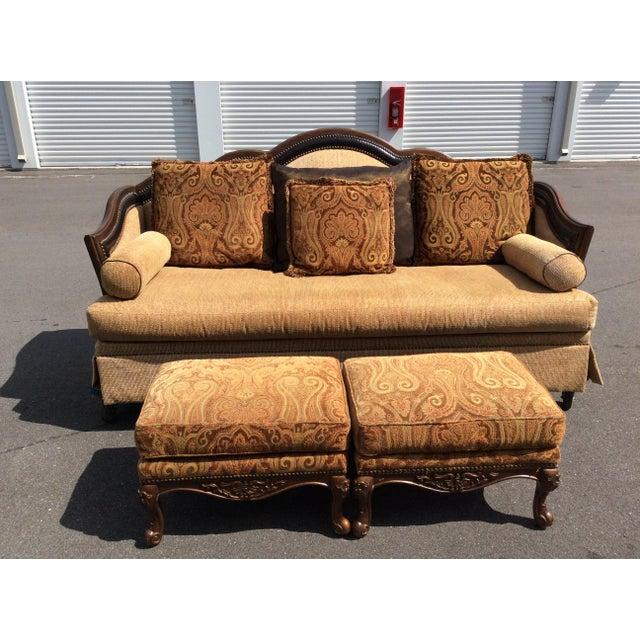 Chenille Sofa & 2 Ottomans - Image 2 of 11